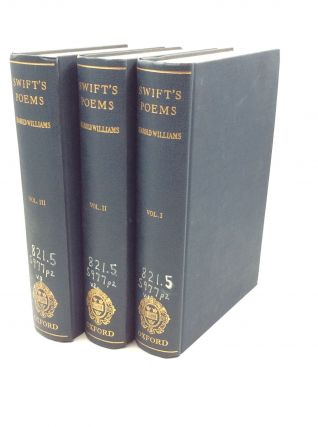 THE POEMS OF JONATHAN SWIFT: VOLS. I-III. Harold Williams