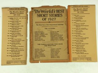 THE WORLD'S BEST SHORT STORIES OF 1927.