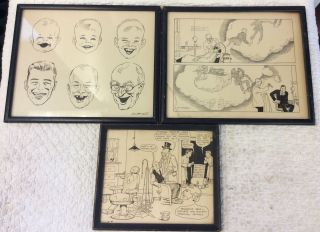 ORIGINAL ART WITH DENTAL THEMES BY THE CREATOR OF DIXIE DUGAN. John H. Striebel.